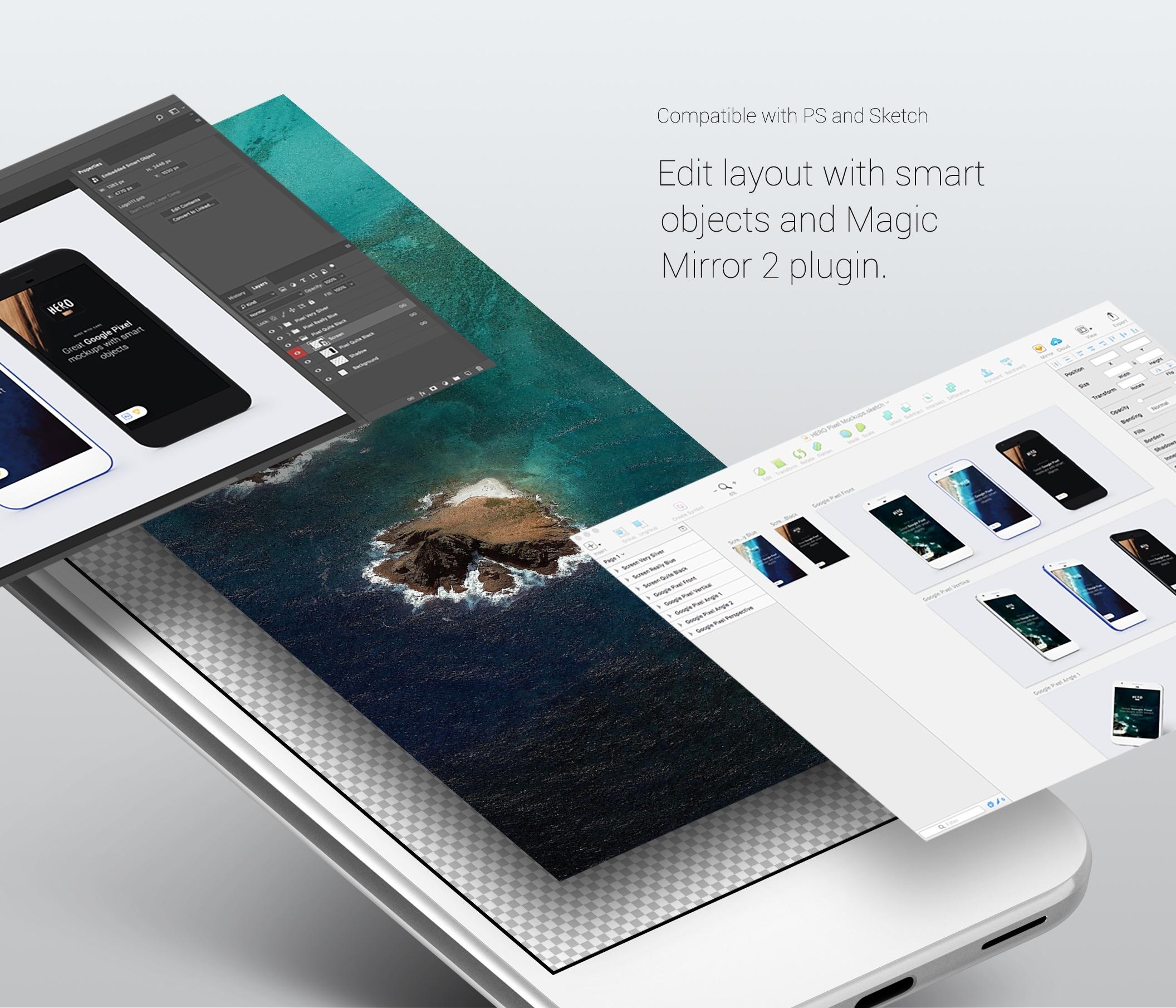 HERO Google Pixel Mockups — Mockups on UI8
