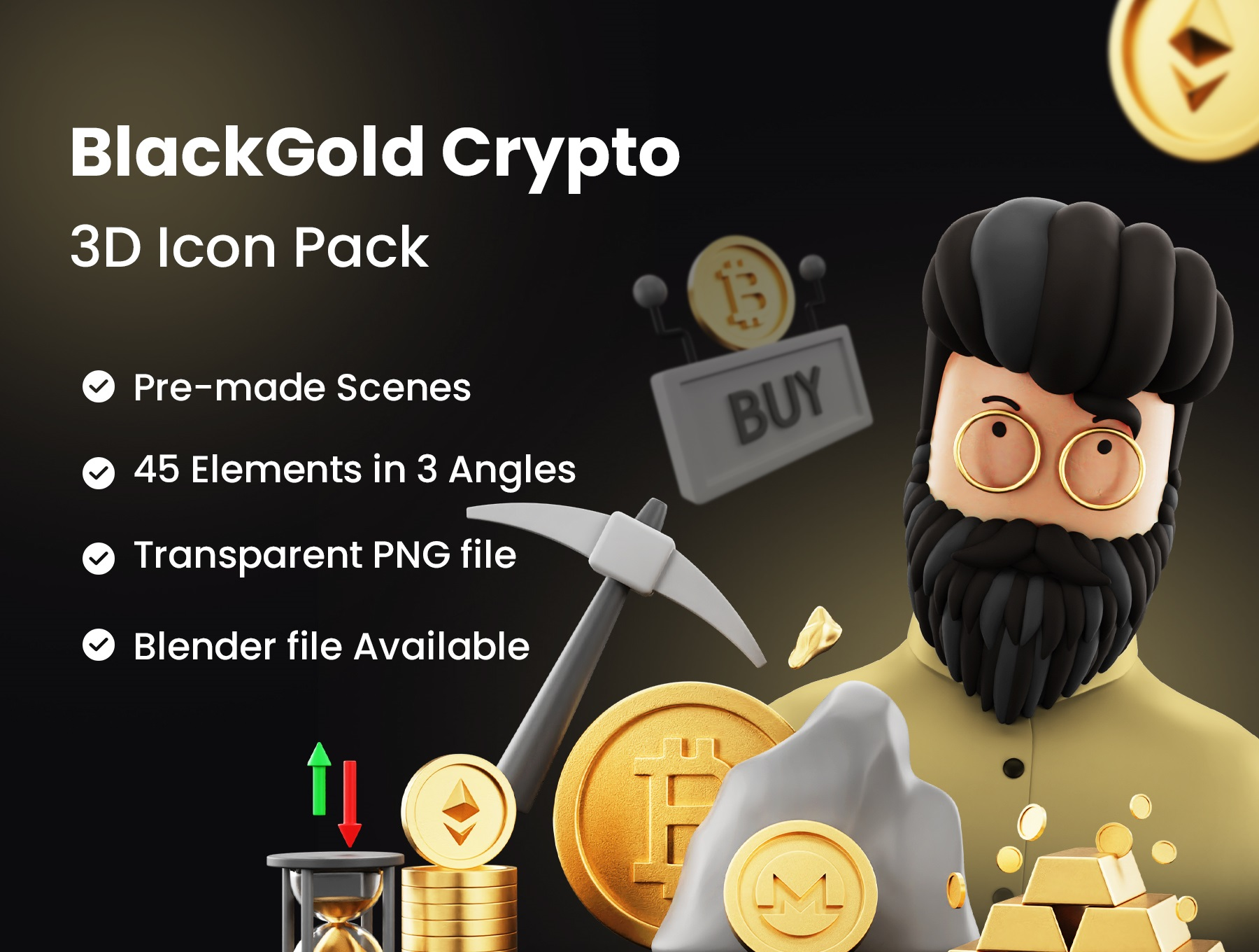 [VIP] BlackGold - Cryptocurrency 3D Icon Pack