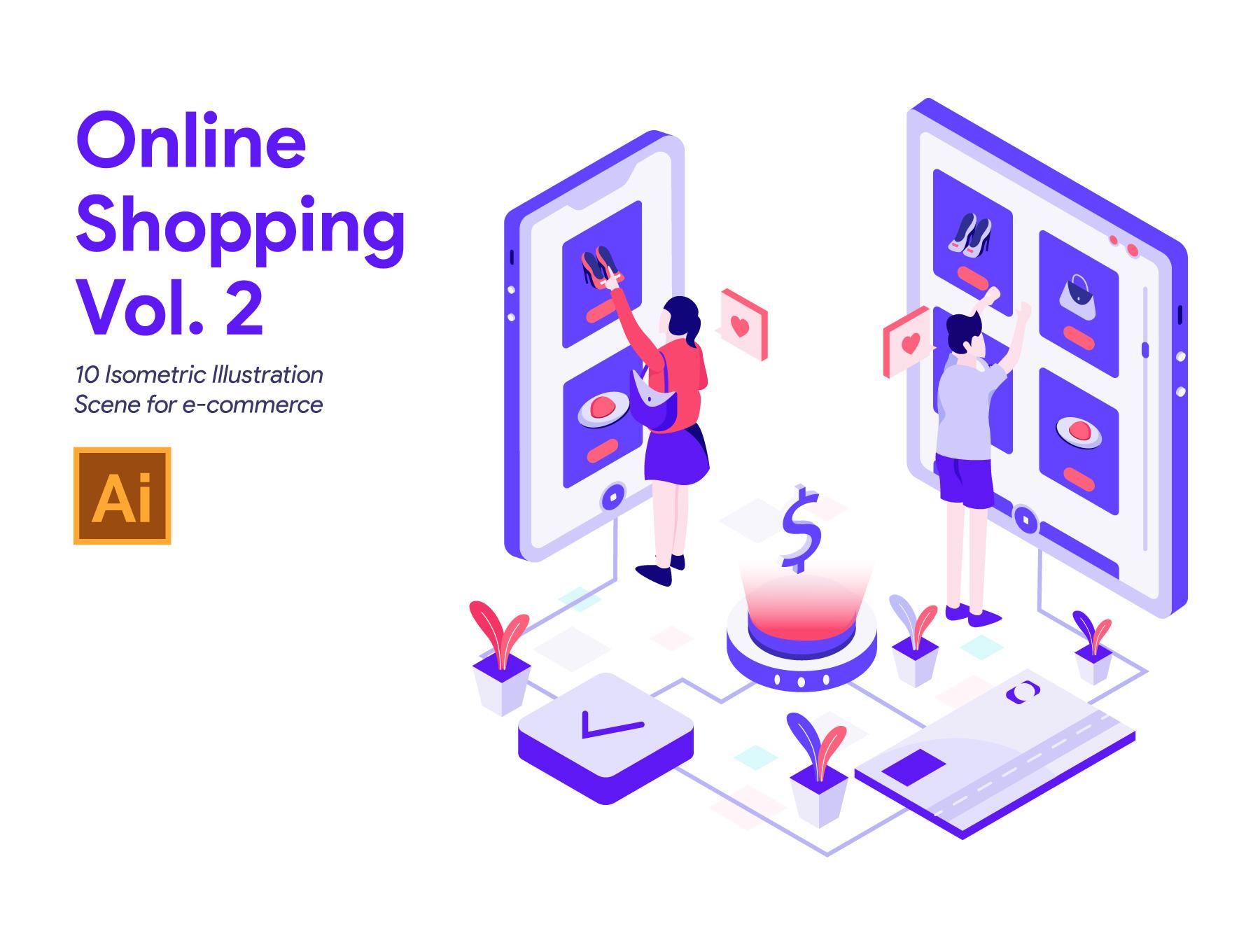 <span class='yzk_title_64593'>电商网购扁平化试了人物场景插画UI设计素材 banner Online Shopping Vol 2</span>
