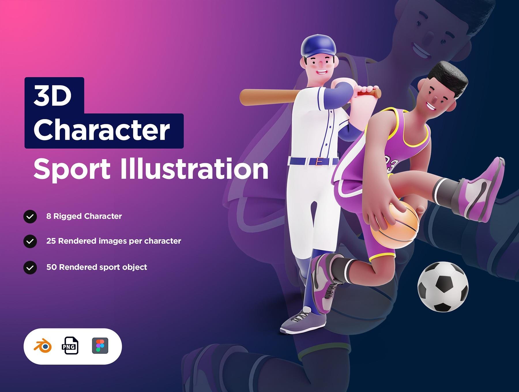 [VIP] 3D Character Pack Sport Illustration & 3D Elements object