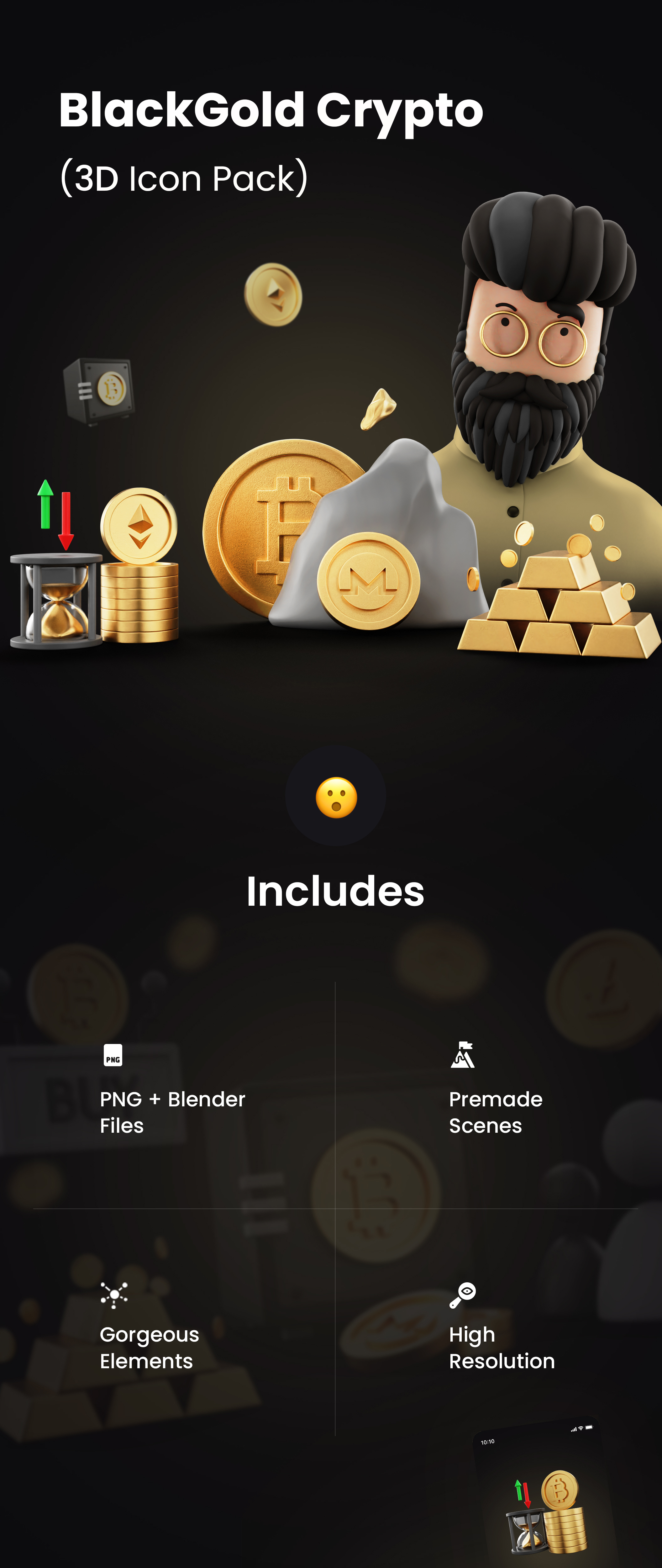 Premium 3D Icon Pack for Cryptocurrency   BlockGold Pro   Iqonic Design premium 3d icon pack for cryptocurrency BlackGold Pro 3D 1st full preview imagelong preview 1628934630169