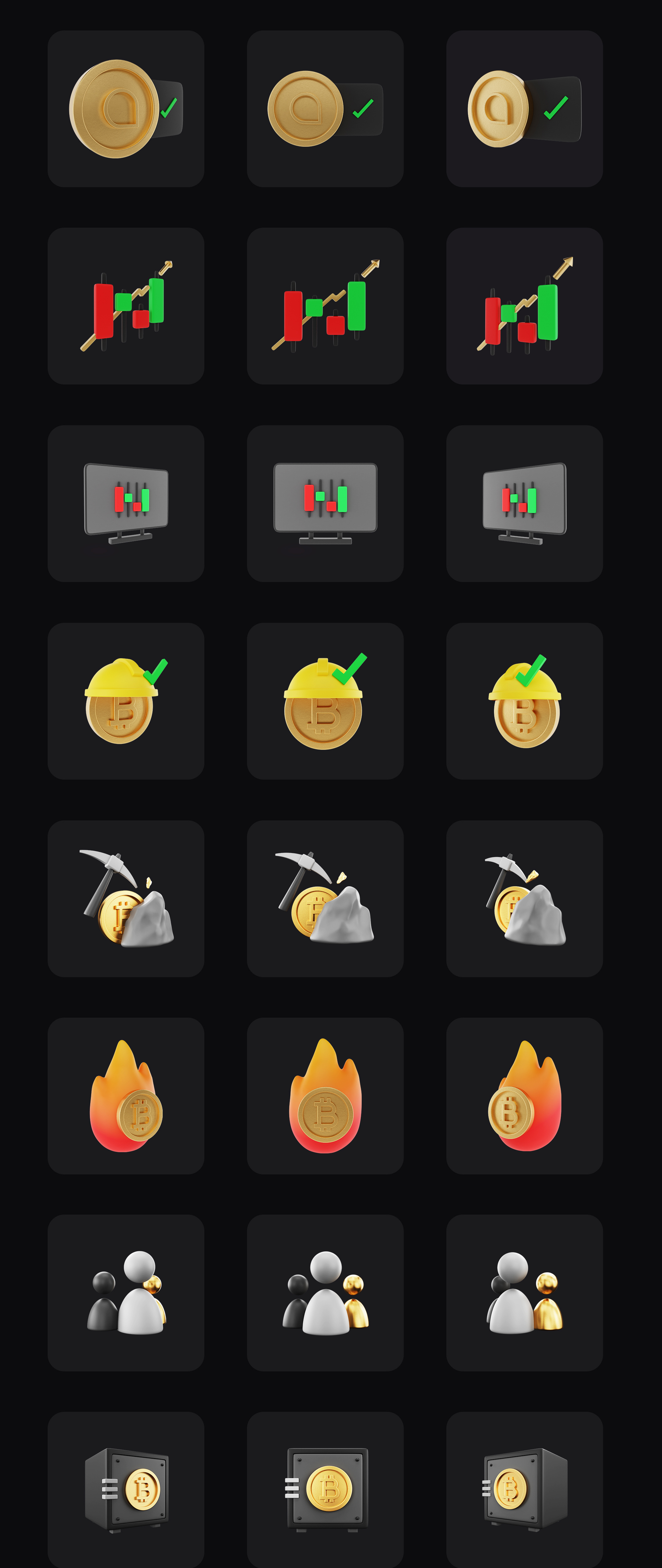 premium 3d icon pack for cryptocurrency BlackGold Pro 3D 3rd full preview imagelong preview 1628934613446