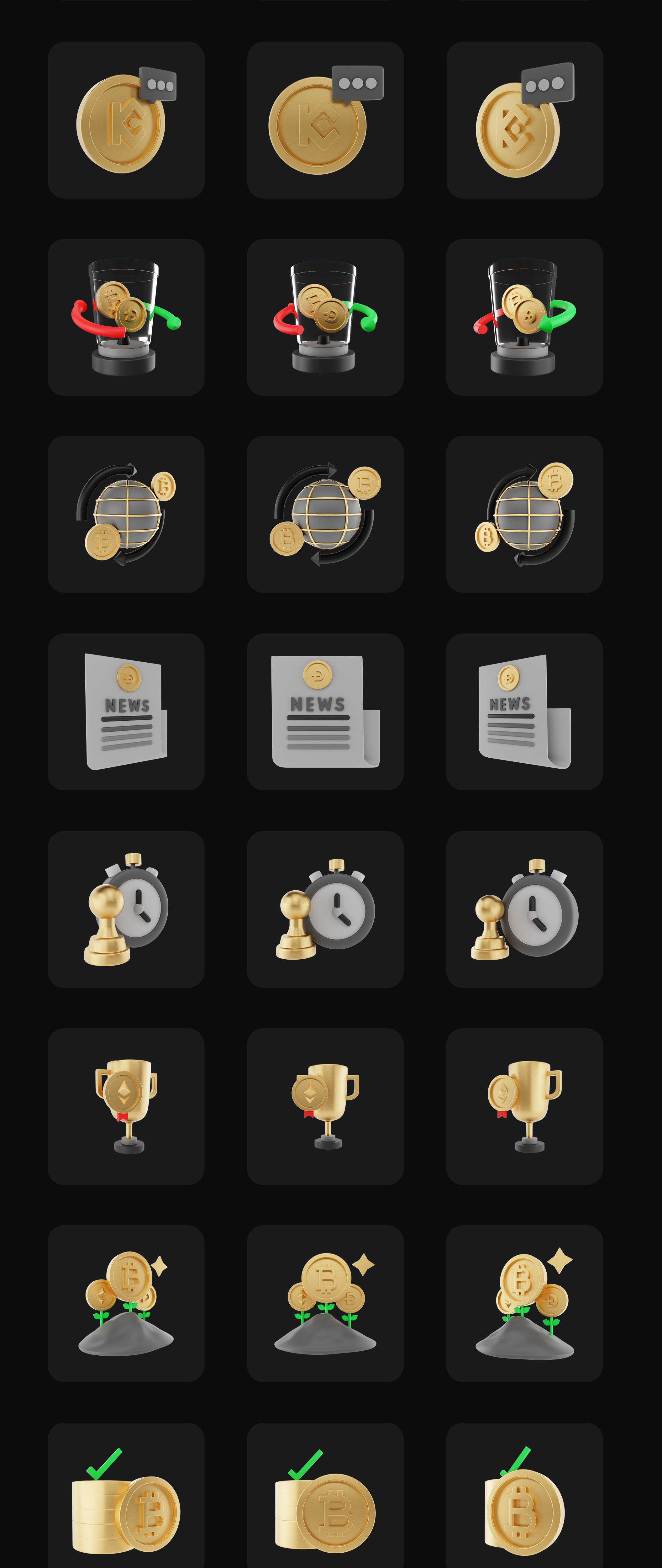Premium 3D Icon Pack for Cryptocurrency   BlockGold Pro   Iqonic Design premium 3d icon pack for cryptocurrency BlackGold Pro 3D 4th full preview imagelong preview 1628934570001