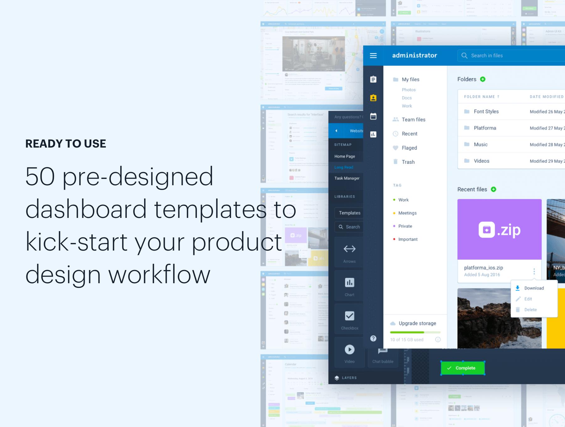Administrator Dashboard: Sketch & Figma — UI Kits on UI8
