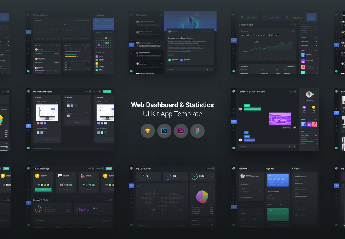Web Dashboard & Statistics UI Kit — UI Kits on UI8