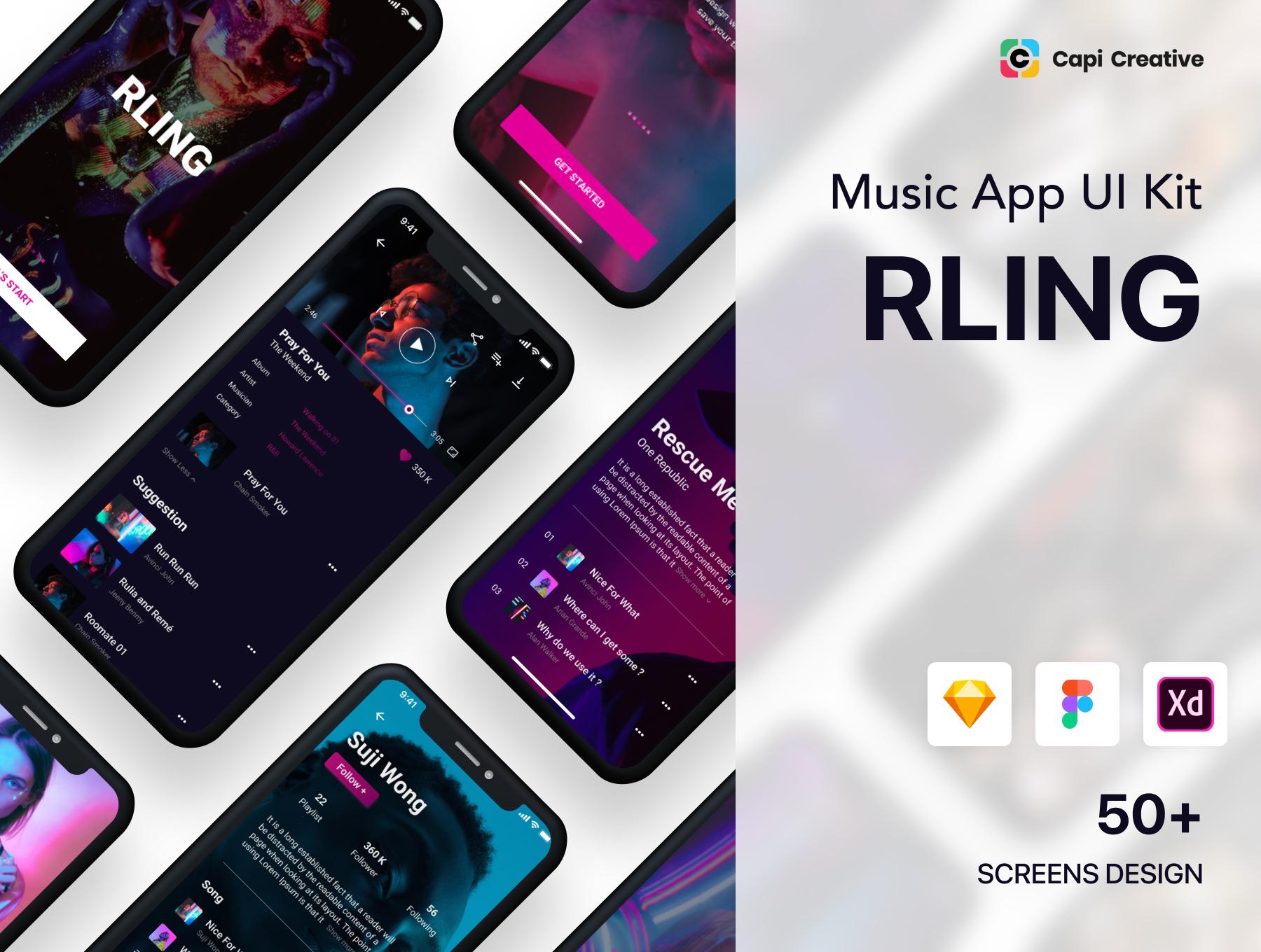 RLing - Amazing Music App UI Kit Premium UI Kit For Figma, Sketch, Adobe XD