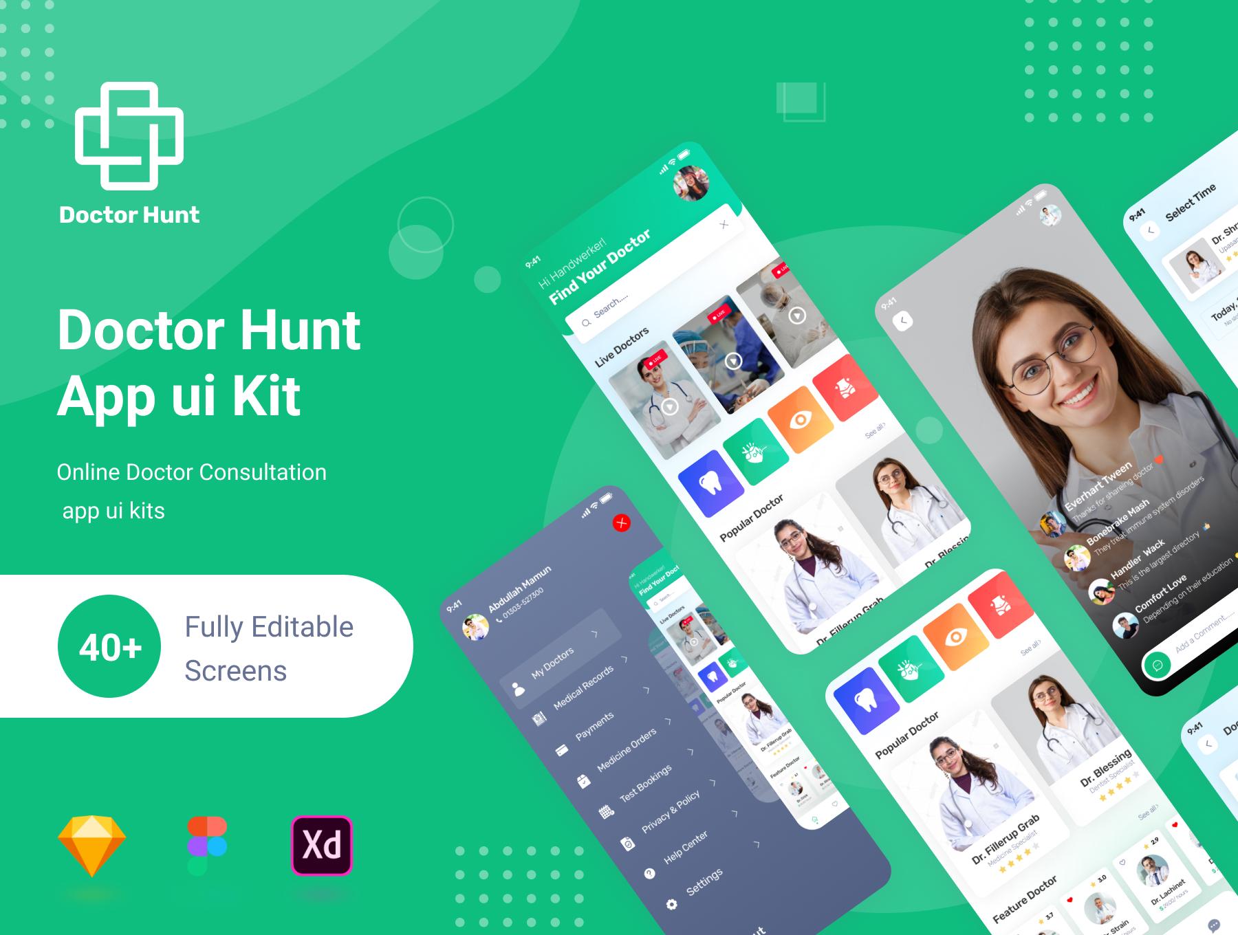 Doctor Hunt - Doctor Consultant Mobile App Premium UI Kit Figma + XD + Sketch