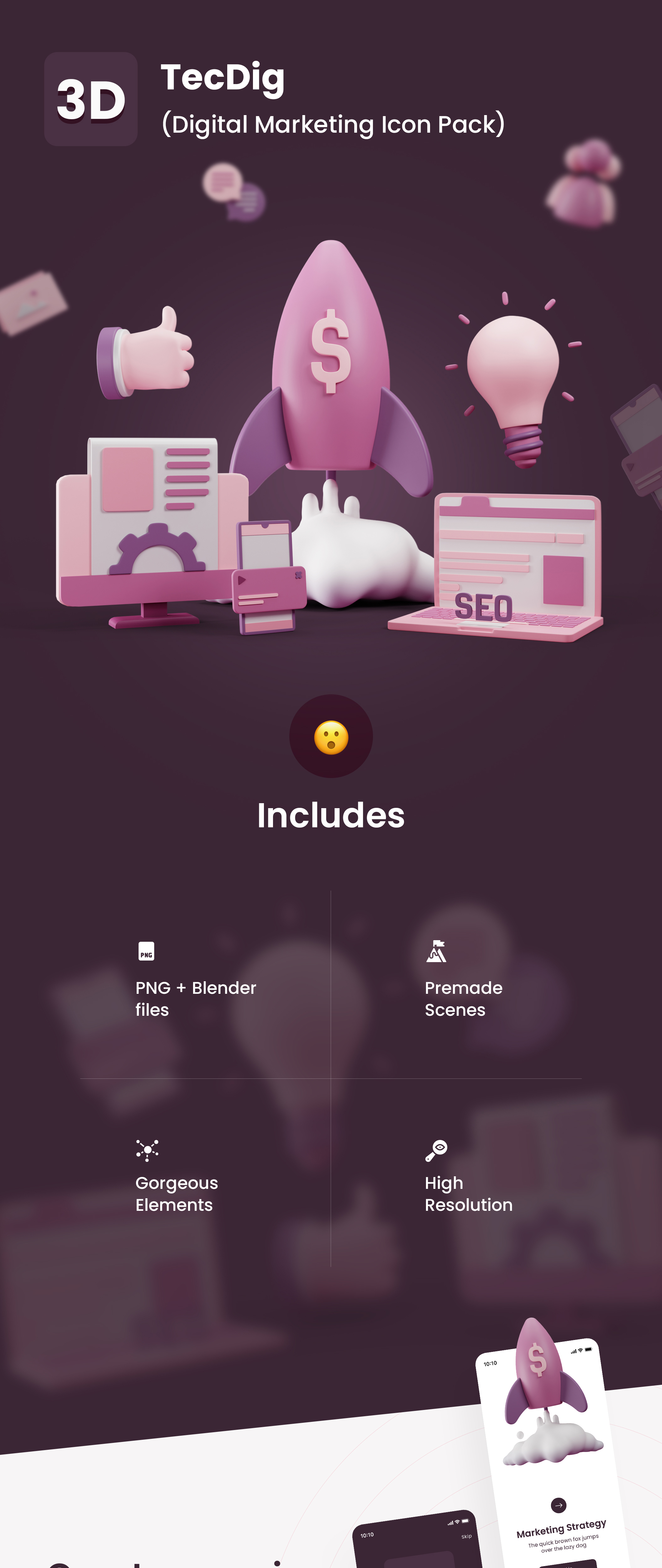 Premium 3D icon pack for digital marketing | TecDig Pro | Iqonic Design premium 3d icon pack for digital marketing TecDig Pro 3D f3 1627383159084