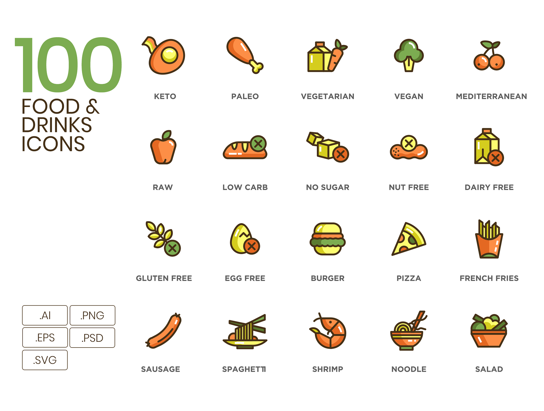 100 Food & Drinks Icons — Icons on UI8