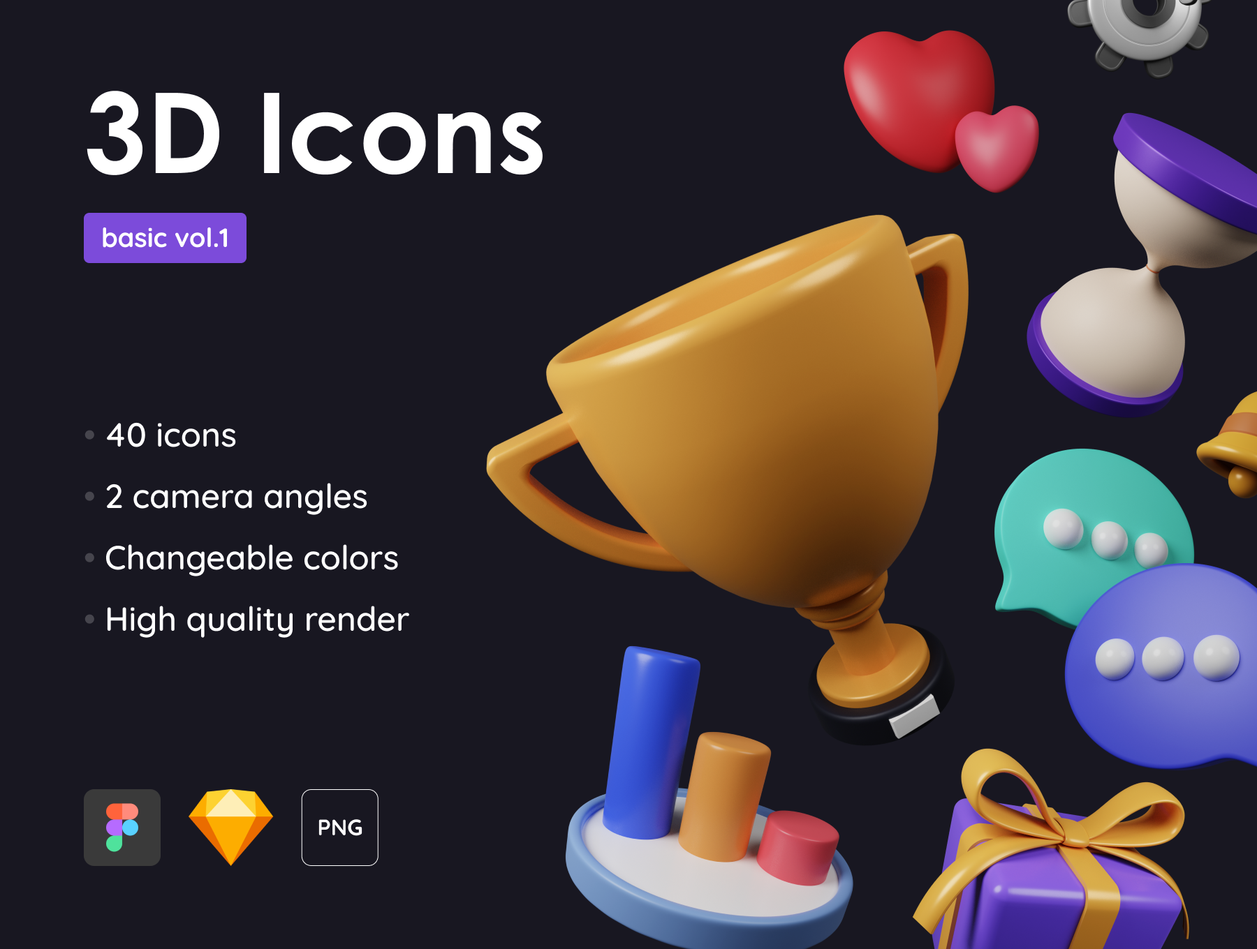 [VIP] Basic Pack - Customizable 3D Icons