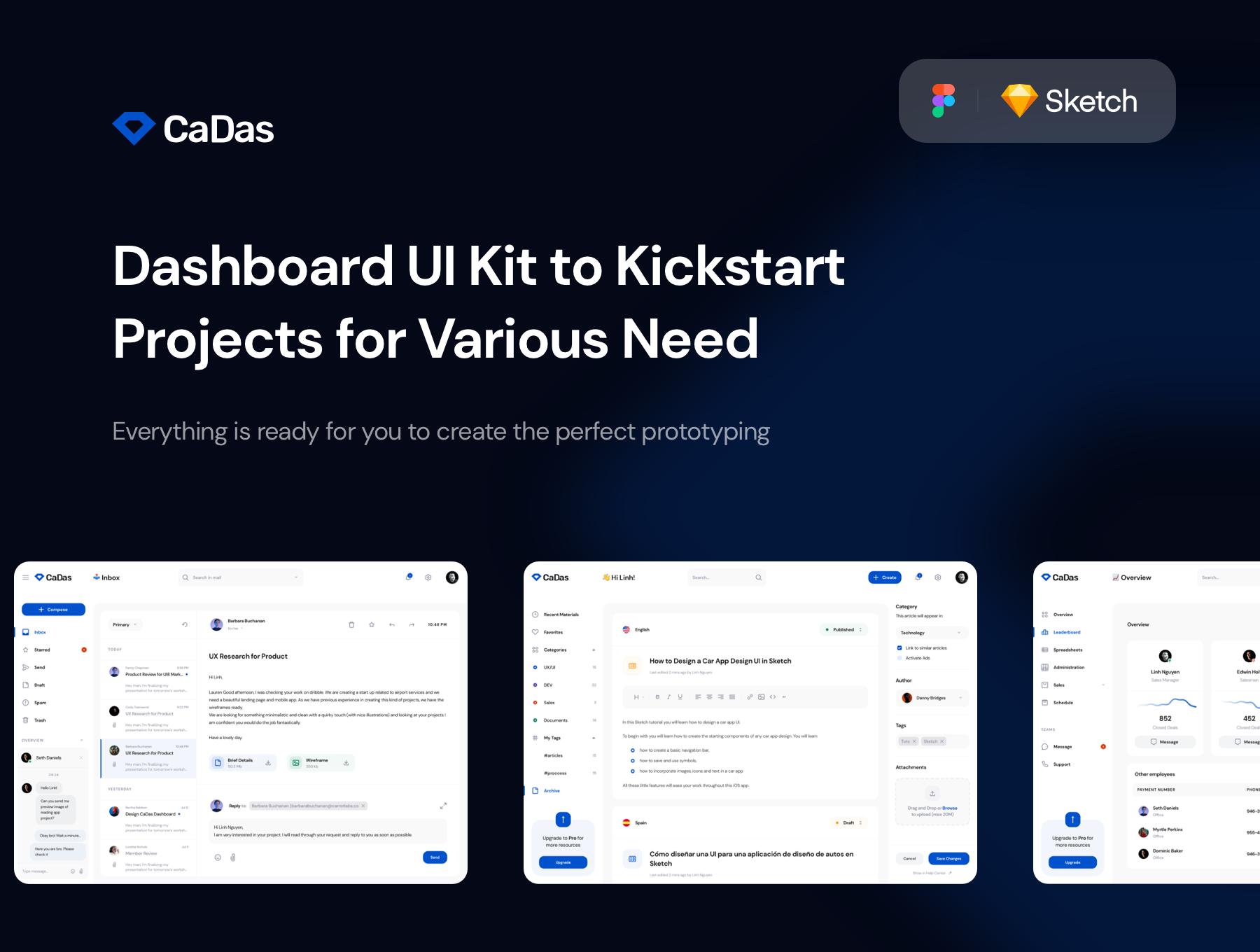 CaDas Dashboard UI Kit Premium UI Kit For Figma + Sketch